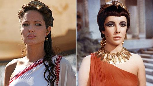 Angelina Jolie og Elizabeth Taylor som Cleopatra