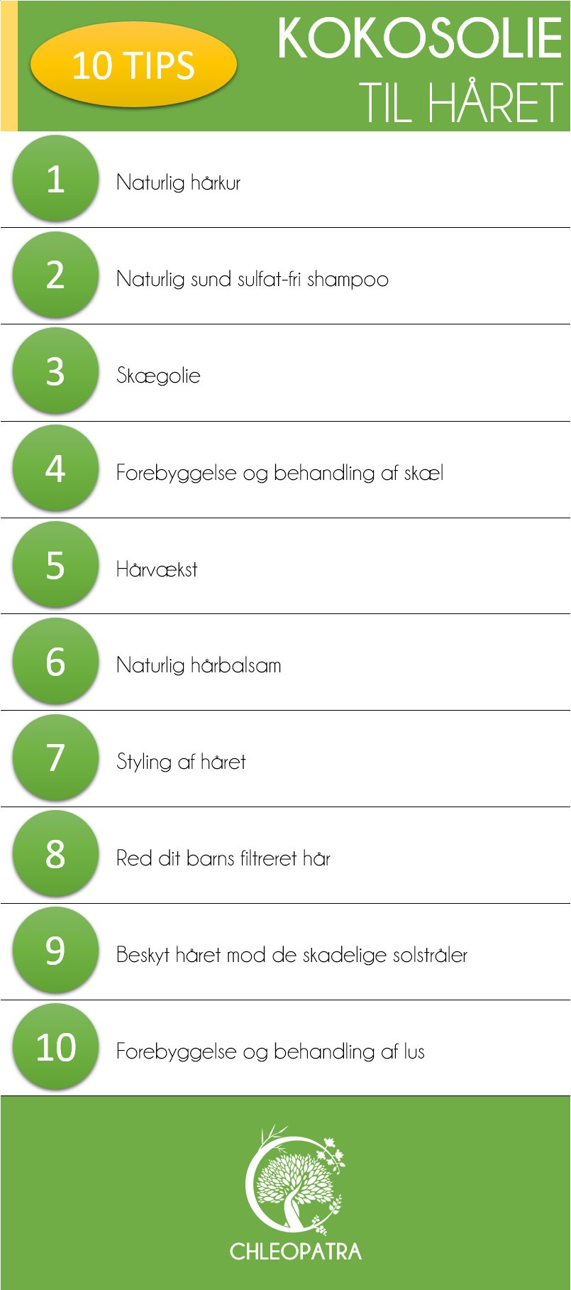 kokosolie til håret - 10 tips infografik